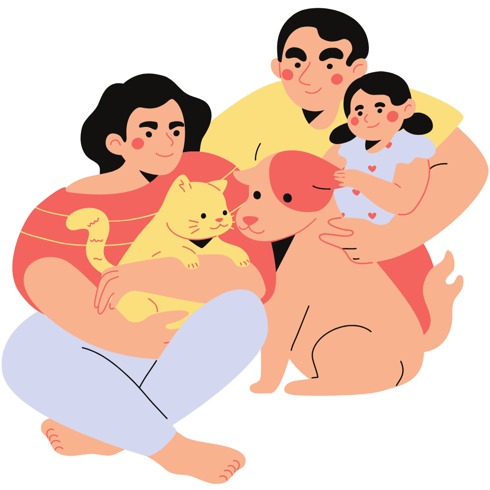 family with mother, father, daughter, cat, and dog