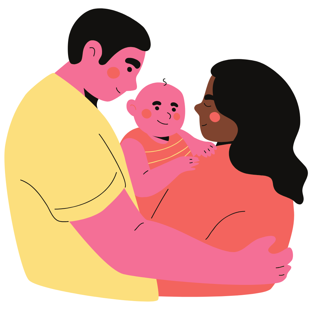 father and mother holding their child