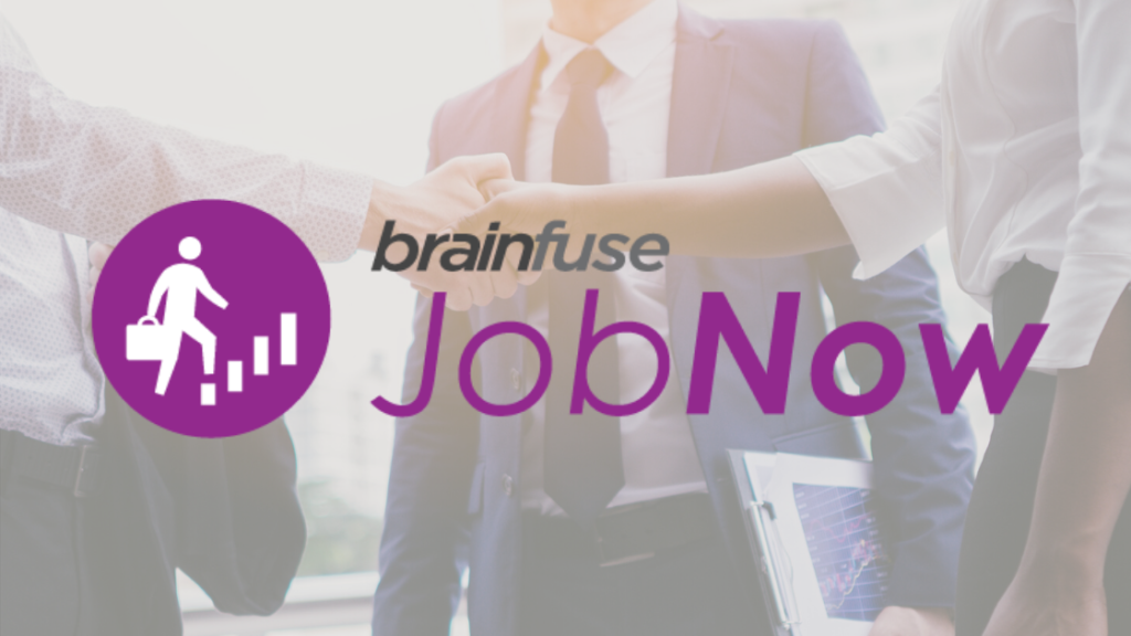 brain fuse. job now. people shaking hands, person holding a briefcase and climbing a ladder